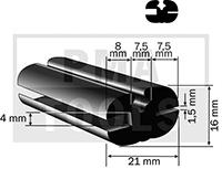 Vollgummiprofil, 21x16 mm, 20 m