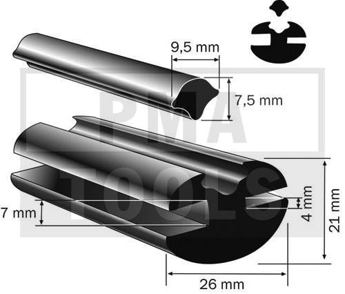 Vollgummiprofil, 26x21 mm, 25 m