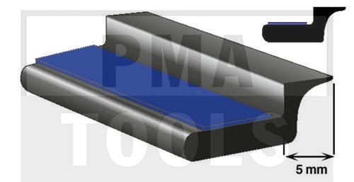 SK-Unterglasprofil mit Lippe, 5 mm, 5 m
