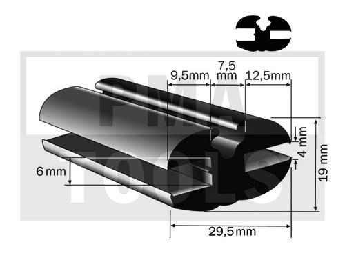 Vollgummiprofil, 29,5x19 mm, 15 m