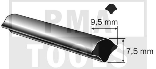 Füllerprofil, 9,5x7,5 mm, 25 m